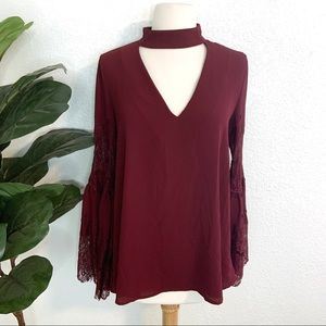 DO+BE Lulu's Burgundy Lace Bell Sleeve Blouse S